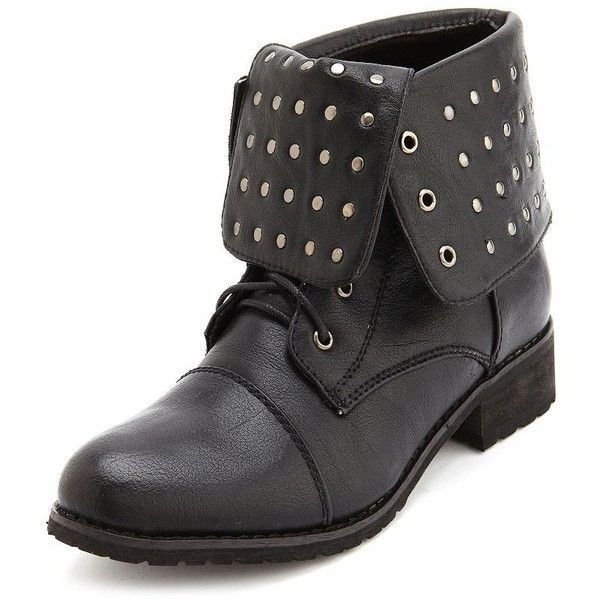 Studded Fold-Over Combat Bootie (38 CAD) found on Polyvore