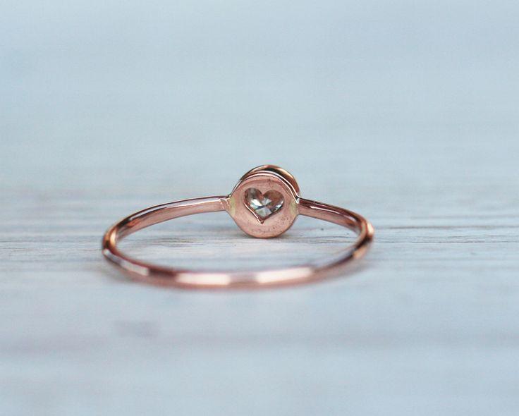 0.17CT Pierścionek z diamentem w różowym złocie - arpelc - Pierścionki zaręczynowe