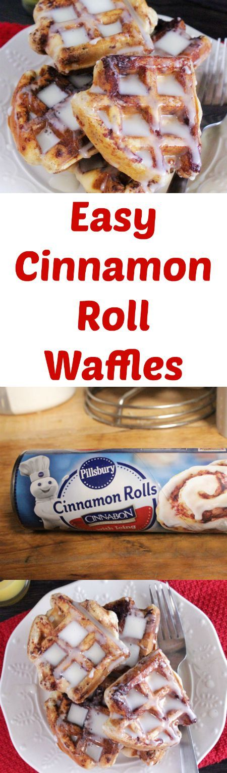 Easy Cinnamon Roll Waffles using Pillsbury Canned Cinnamon Rolls