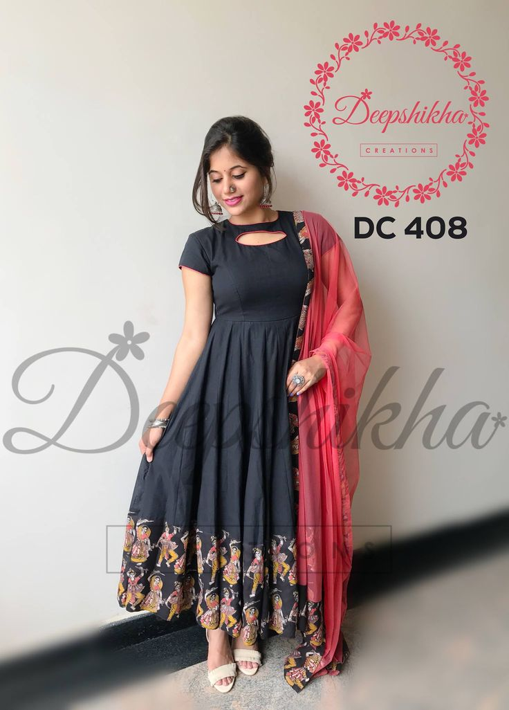 DC 408. Beautiful black color floor length dress with dancing woman print on boarder. For queries kindly whatsapp: +91 9059683293