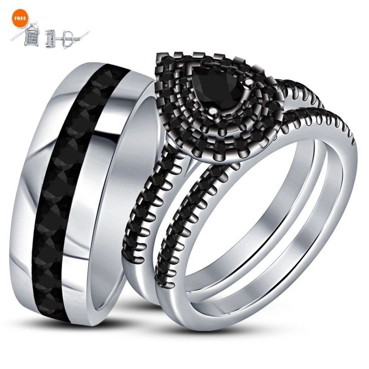 14k Black Gold Real Black I1-12 Diamond Engagement Ring Wedding Trio Bridal Set #br925silverczjewelry #TrioRingSet #WeddingEngagementAnniversaryBirthdayPartyGift