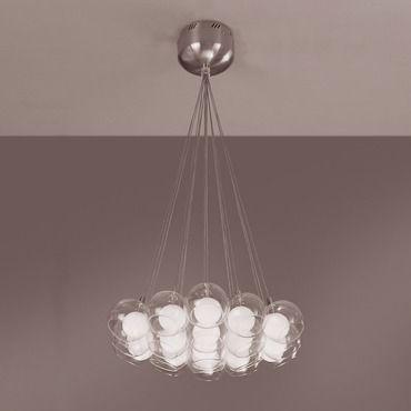Plc lighting hydrogen chandelier in satin nickel finish