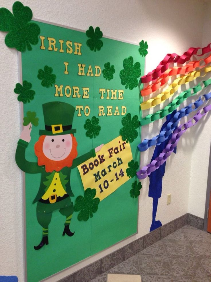 """St Patrick's Day Library Bulletin Board - """"Irish I had more time to read"""""""