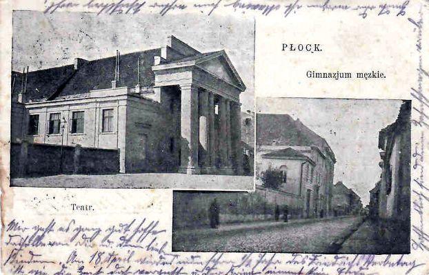 gimnazjum męskie i teatr na pocztówce wysłanej z Płocka w dn. 12.04.1915r. Kliknij aby obejrzeć w pełnym rozmiarze
