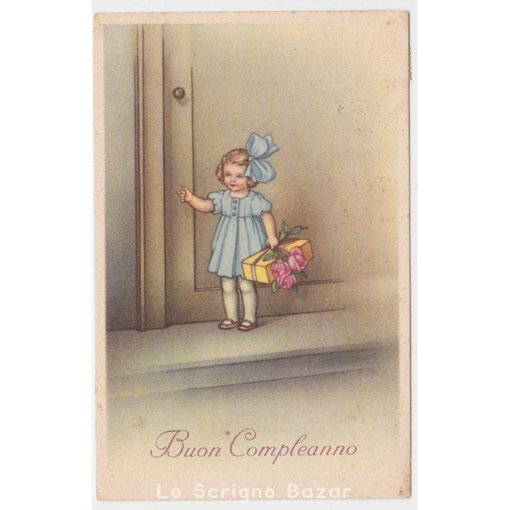 1947 cartolina auguri d'epoca bambina fiocco pacco regalo rose buon compleanno