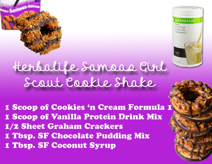 Herbalife Samoas Girl Scout Cookie shake recipe with Cookies n cream formula 1 mix