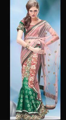 Gorgeous Green Lehanga Saree