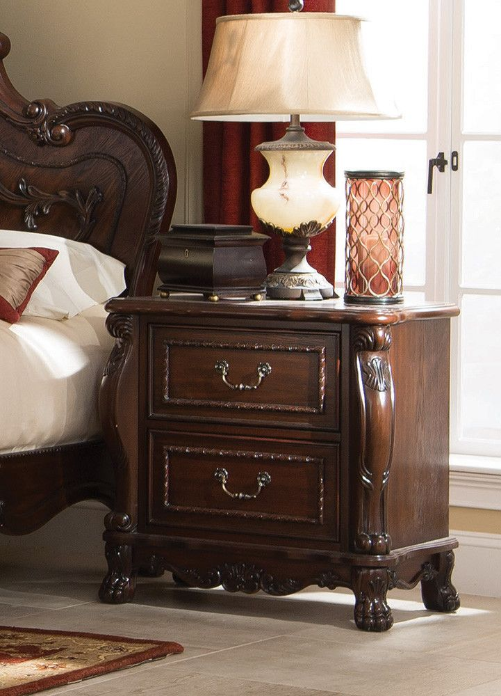 """Nightstand CS204452 Description : For the romantic at heart who loves the luxurious Victorian period design, the Abigail collection is a stunner. Inspired by original antiques, each piece has exaggerated curves, carved lion claws, scroll work and oval cameos with hand inlaid veneers. This master piece collection tells everyone you """"have arrived."""" Features : Color : Cherry Drawer Construction : English Front/ Back Dt Foundation : Box/Mattress Ready Felt Line Top Drawers : Safely store jewelry…"""
