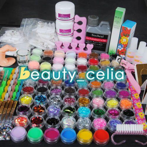 Pro-Full-78-Acrylic-Liquid-Powder-Tips-Glue-Rhinestone-Pen-Tool-Nail-Art-Kit-Set