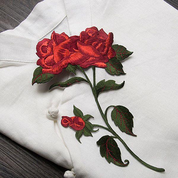 Pas cher Rose fleur applique patches vintage broderie buiter patch DIY vêtements…