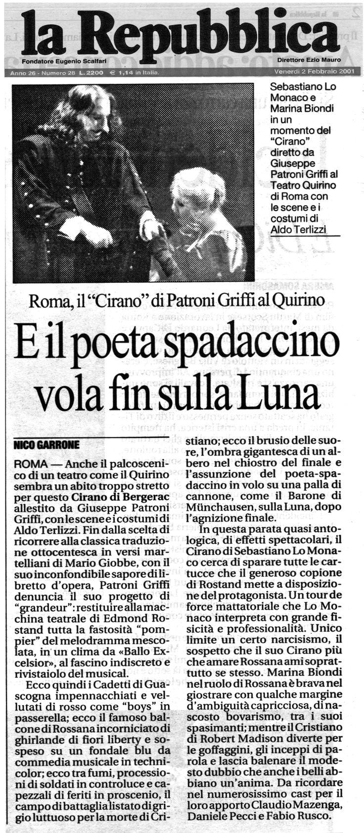 2 febbraio 2001 - La Repubblica  Nico Garrone su Cirano di Bergerac, di Edmond Rostand, regia di Giuseppe Patroni Griffi