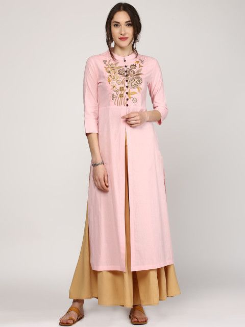 678d40e67 Buy SASSAFRAS Women Pink Embroidered Kurta - Kurtas for Women | Myntra