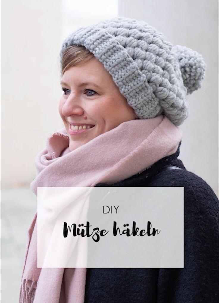 Häkeln Anleitung: Einfache Mütze mit Büschelmas…