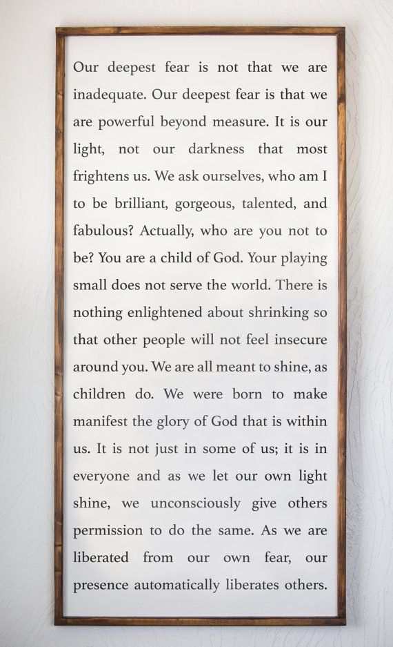 Our Deepest Fear, Liberate, Let Your Light Shine, Marianne Williamson, Wood Sign, Spiritual, Inspirational Quote