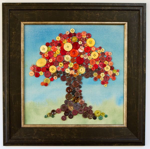 Seasonal Button tree on canvas