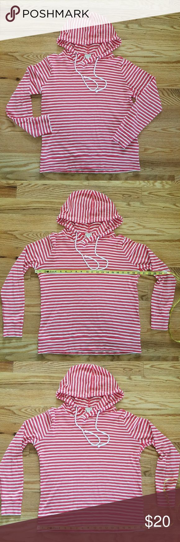 J. Crew Coral Pink Striped Hoodie Super soft 100% cotton striped hoodie. Coral pink and white in color.  Cross over hooded neck gives a cowl style neck. Long sleeves. Slightly heather in color. A bit of wash wear. Still in great condition! J. Crew Tops Sweatshirts & Hoodies