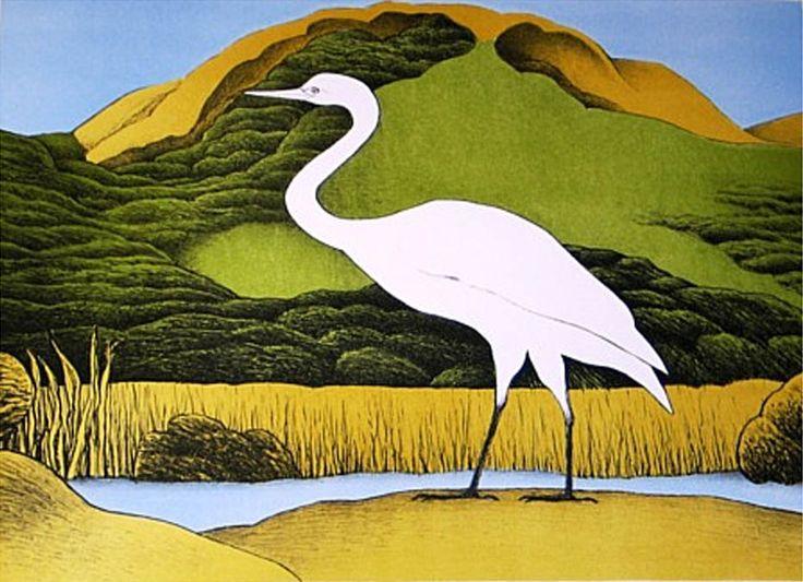 Don Binney Kotuku Puketotara Parnell Gallery http://www.parnellgallery.co.nz/artworks/artist-don-binney/kotuku-puketotara/