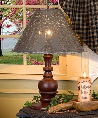 Tin and Wood Table Lamps Country Decor | Country Cottage Decor