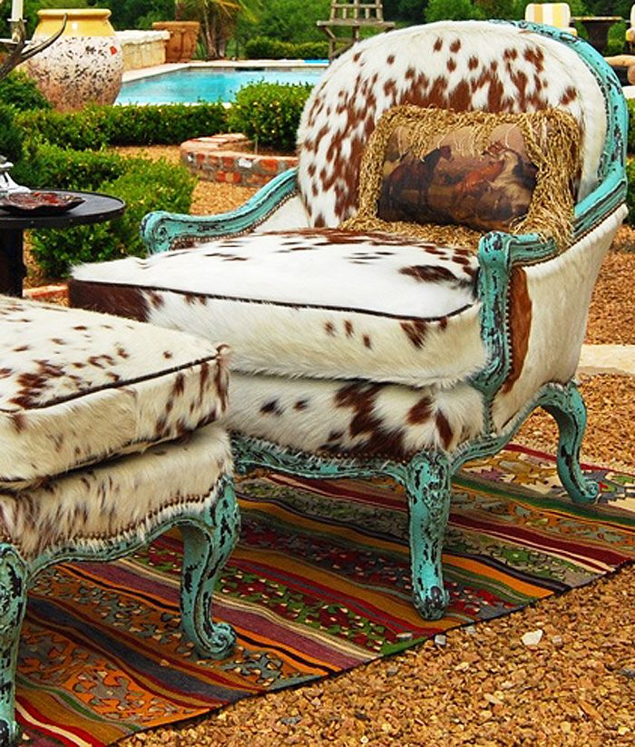 If your home decor is more traditional, choose classic furniture frames made unique with cowhide upholstery.
