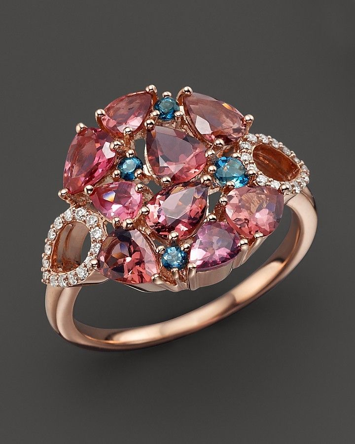 Roberto Coin 18K Rose Gold Fantasia London Blue Topaz and Pink Tourmaline Ring