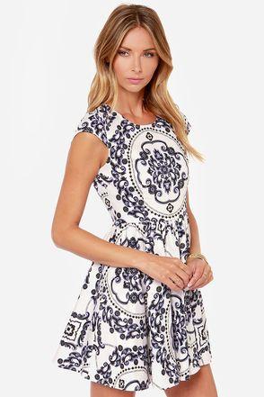 Fitted White Dress - Print Dress - Skater Dress - $47.00