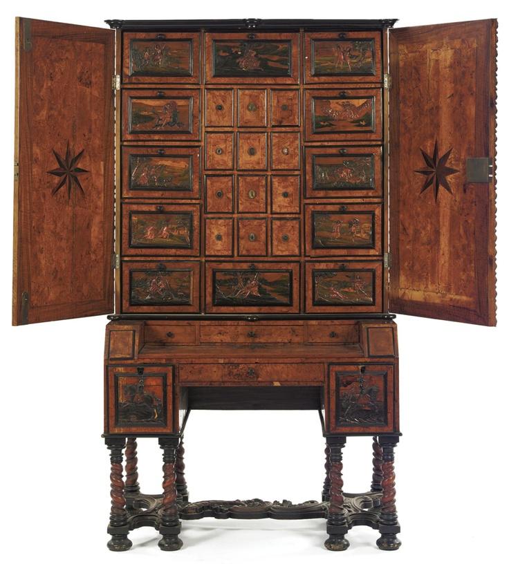A BOHEMIAN EBONY, FRUITWOOD, BURR AND BOXWOOD PARQUETRY BUREAU CABINET  EGER, THIRD QUARTER 17TH CENTURY