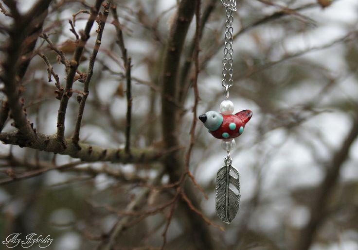 Lampwork bird necklace.