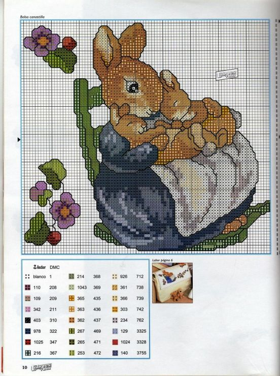 Cross stitch chart with mother rabbit and two baby bunnies