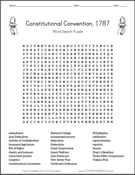Consutional Convention Word Search Puzzle Free To Print Pdf Features 26 Terms