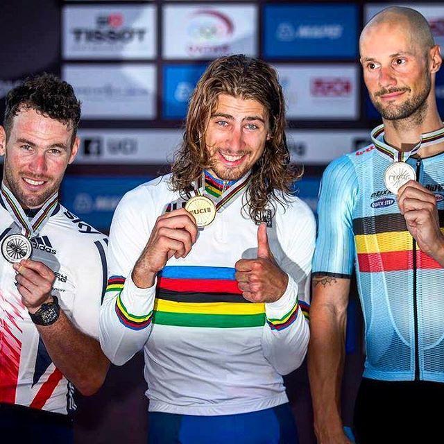 Podium Men's Elite Road Race World Championships 2016 photo Graham Watson