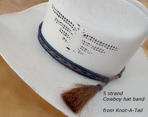 Horsehair hat band / Cowboy hat band /Western hat band  Horsehair hat band / Cowboy hat horse hair hat band with horsehair tassels BRILLIANTLY BOLD Teal / black/ sorrel horsehair Uniquely distinctive and exceptional quality and design Cowboy hat horse hair hat band!   Everything you want in a Horsehair hat band. Brings out your spirit in an exclusive design that is vibrant as your western lifestyle. Measurements   Longest length 25 inches  Shortest length about 20 inc...