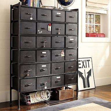 Metal Chest with 24 Drawers. Awesome.Ideas, Metals Chest, Pbteen, Crafts Room, Living Room, File Cabinets, Rockwell Metals, Pb Teen, Chest Of Drawers