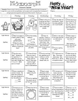 ideas about Kindergarten Language Arts on Pinterest     Printable kindergarten homework calendar