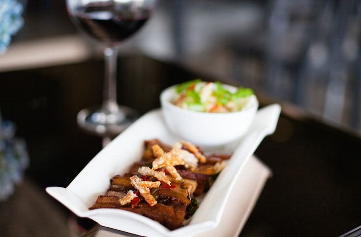 A Chef's recommendation: Pork Belly with Caramelized Chilli - served with a green apple & ginger 'crackling' salad.