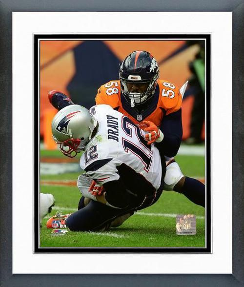 2015 AFC Championship Game Denver Broncos Von Miller takes down Tom Brady 2015 AFC Championship Game Framed Picture at BuySportsPictures.com