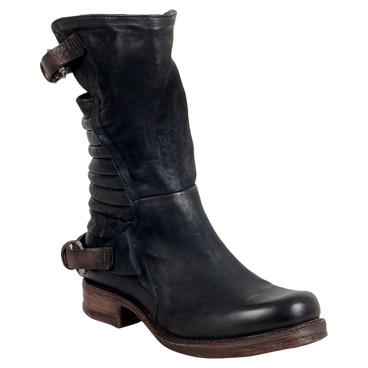 """A.S.98 Serge - Elevate your attitude in these sexy, stylish motorcycle boots, A.S.98 Serge Motorcycle Boots for Women features a quality Italian leather upper with straps along the top and bottom of the shaft, unique handsewn back with exposed portion for European style, antiqued hardware, a full side zip for easy on/off, cushioned footbed and chunky 2.5"""" heel. Available Colors: Black Leather Upper Cushioned Footbed Chunky 2.5"""" Heel Textured Rubber Heel"""