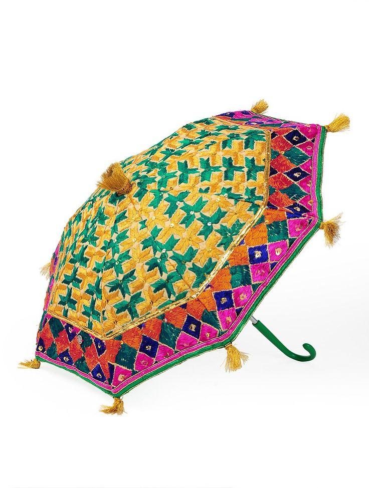 Green-Multi-Color Cotton Zari Tassles Phulkari Umbrella on Jaypore.com