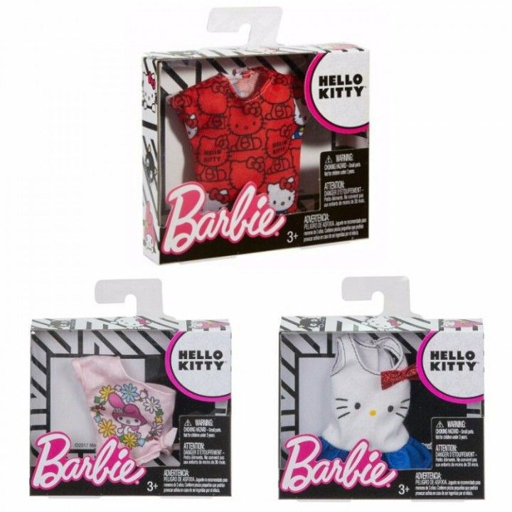 5548d2640 Mattel Barbie Fashion Sanrio Hello Kitty Collection Outfit Packs - Set of 3  (These Clothes incorporate recognizable icons into cool prints from iconic  ...