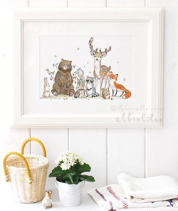 Woodland Nursery Print Giclee Animals By Elfinlilac