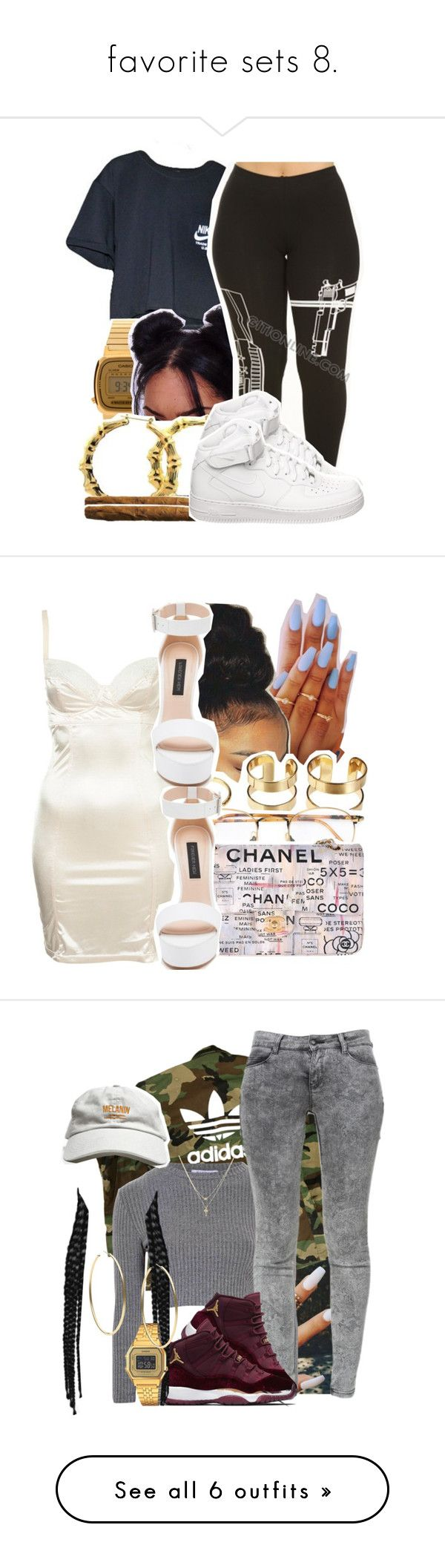 """""""favorite sets 8."""" by trillestqueen ❤ liked on Polyvore featuring NIKE, Casio, Fergie, Persol, Chanel, Forever New, adidas, Glamorous, Zara and Betsey Johnson"""