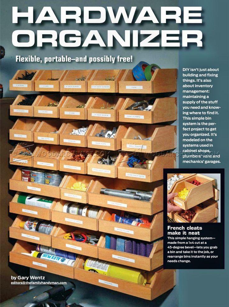 2296 diy organizador de hardware soluciones para taller fine woodworking projects. Black Bedroom Furniture Sets. Home Design Ideas