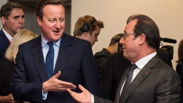 Prime Minister David Cameron (L) chats to French President Francois Hollande as EU leaders met for the first time since the British referendum.