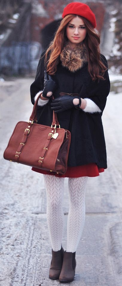 Consider pairing a black cape coat with a red skater skirt to create a chic, glamorous look. throw in a pair of charcoal suede booties.capitalize to va-va-voom your outfit.  Shop this look for $359:  http://lookastic.com/women/looks/beanie-scarf-cape-coat-gloves-tote-bag-skater-skirt-tights-ankle-boots/7181  — Red Beanie  — Brown Fur Scarf  — Black Cape Coat  — Black Leather Gloves  — Burgundy Leather Tote Bag  — Red Skater Skirt  — White Wool Tights  — Charcoal Suede Ankle Boots