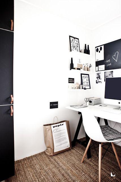 black and white home office. from ved siden av