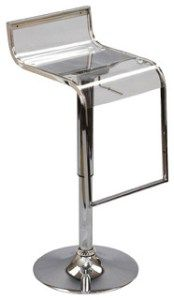LEM Acrylic Bar Stool: This stool is on the lower end of the price scale and certainly affordable if you are looking to buy a lot of them. Although the acrylic itself is clear, it falls under a darker shade of the clear design. It gives the stool a look of mystery. The stool is designed with a chrome-plated steel frame that gives the base structure, as well as offers a comfortable design feature of the footrest.