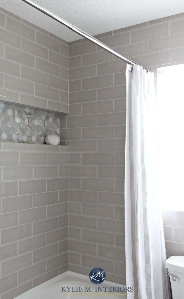 Warm Gray Or Greige Subway Tile Shower Surround With Niche Or Alcove In  Hexagon Shape Marble