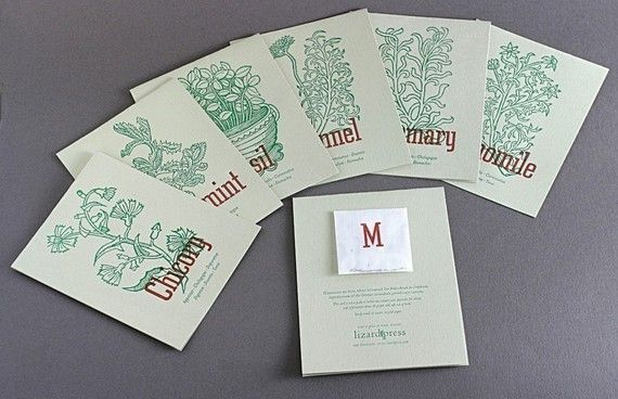 Notes to Grow On, Basil, Fennel, Marjoram, Rosemary, Peppermint, Chamomile, Chicory (letterpress card set of 7).: Letterpresses Cards, Business Cards, Cards Sets, Fennel, Design Seeds, Packaging Design, Letterpresses Herbs, Basil, Chicori Letterpresses