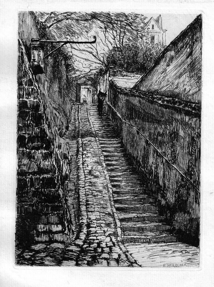 Passage des Eaux (n°11 rue Raynouard) - Paris - Du palier, venant du quai de Passy (1905)