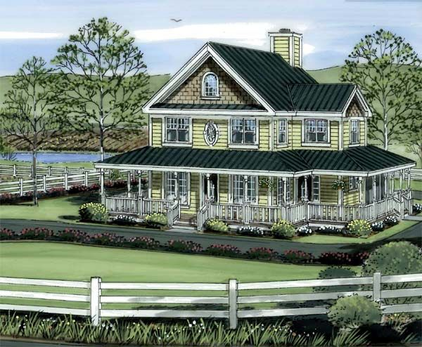Country farmhouse traditional house plan 24724 country for Traditional farmhouse plans