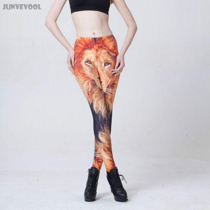 Spandex Leggings Runnings Lion Slim Women's Animal Fur Stretchy Legging Pants Sexy Women Leg Tattoo Trousers Funky Capris Hot